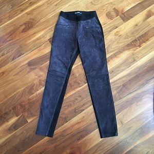 New BlankNYC dark gray suede pull-on leggings